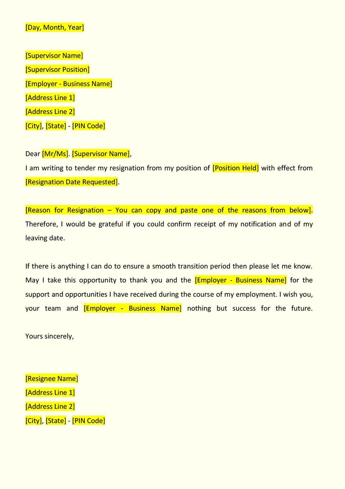 sample resignation letter - indiafilings
