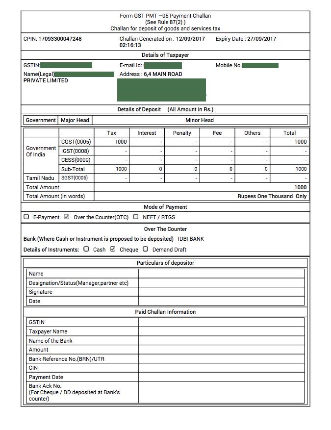 Sample GST Payment Challan