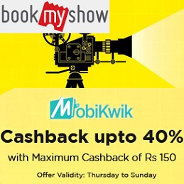 BookMyShow MobiKwik Cashback Offer Upto 40% Cashback on Movie Tickets