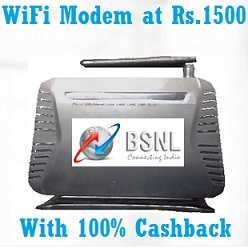 BSNL Broadband Offer 100% Cashback on WiFi Modem New Users