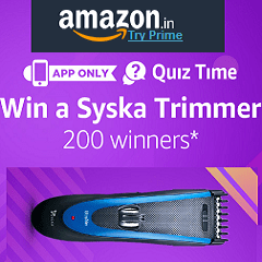 Amazon Syska Trimmer Quiz Contest