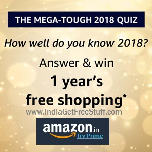 Amazon Mega Tough Quiz 2018 Win Free Shopping 1.2 Lakh Pay Balance