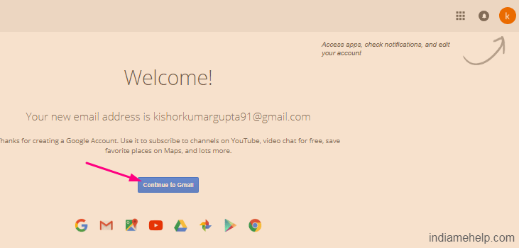 welcome message on gmail