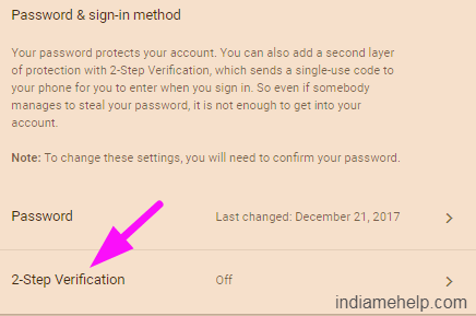 2 step verification option