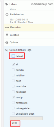 use custom robots tags