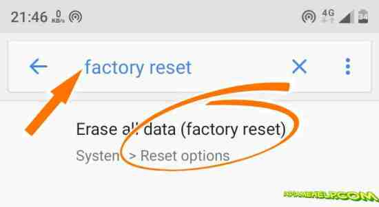factory reset option