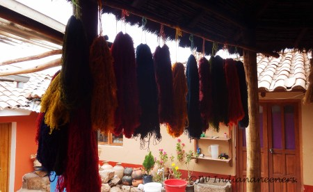 Learning traditional weaving and dying at Chincero.