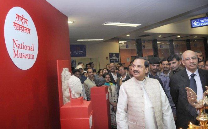 """The Minister of State for Culture (Independent Charge), Tourism (Independent Charge) and Civil Aviation, Dr. Mahesh Sharma visiting after inaugurating the """"National Museum's Art Gallery"""", at Udyog Bhawan Metro Station, in New Delhi on December 09, 2015. The MD, DMRC, Dr. Mangu Singh is also seen."""