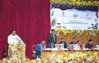 The Union Minister for Agriculture and Farmers Welfare, Shri Radha Mohan Singh addressing the National Conference on Sustainable Agriculture and Farmers Welfare, in Gangtok, Sikkim on January 17, 2016.