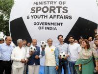 Vijay Goel and Biren Singh launch a ball to popularize football -indianbureaucracy