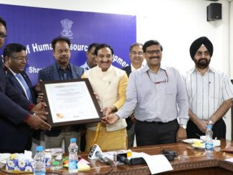 Union HRD Minister Dr Ramesh Pokhriyal 'Nishank' felicitates heads of IIT Bombay, IIT Delhi and IISc