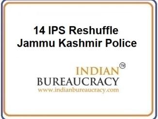 14 IPS Reshuffle in JK Police