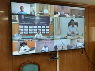 Ramesh Pokhriyal 'Nishank' chairs a meeting through video conference with all 23 IITs Directors