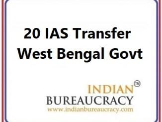 20 IAS Transer in West Bengal govt
