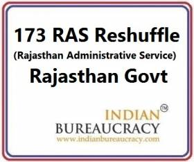 173 RAS Officers Transfer in Rajasthan Govt
