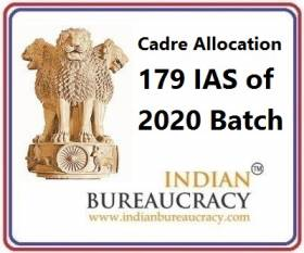 Cadre Allocation -179 IAS of 2020 Batch Indian Administrative Service