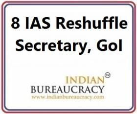 8 IAS Reshuffle as Secretary at GoI
