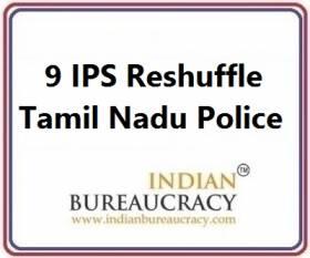 9 IPS Transfer in tamil Nadu Police