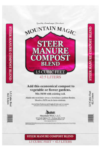 Mountain Magic Steer Manure Compost Blend bags in Omaha