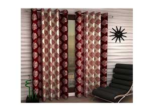 Home Bedspun Tansy Floral Eyelet Polyester Door Curtain