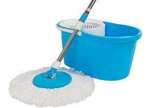 Easy Magic Floor Mop 360° Bucket 2 Heads Microfiber Spin