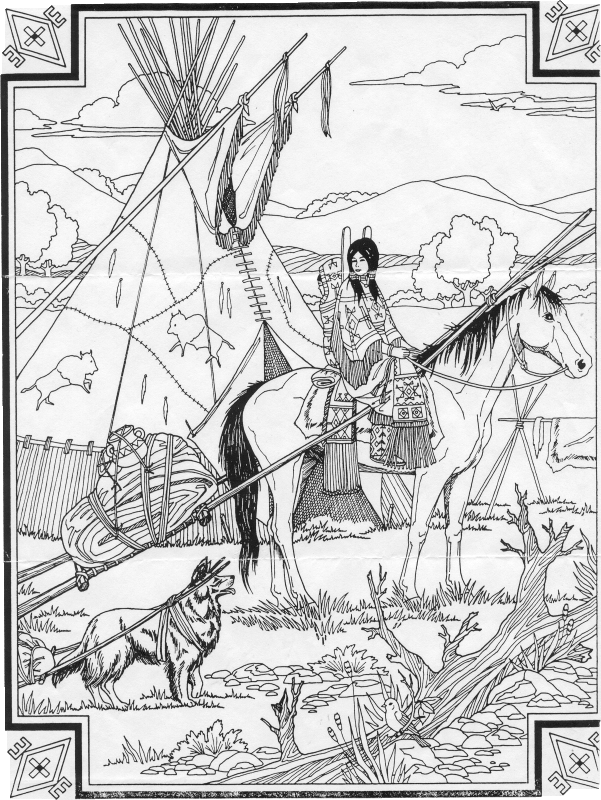 Horse Coloring Pages Free Horses And Native American