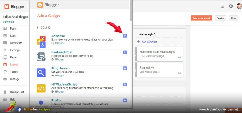 Step 22 - Click on + icon next to Adsense and follow instructions on screen.