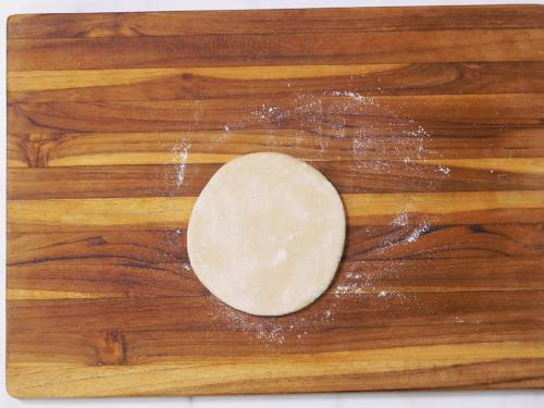 rolling dough to 4 inch discs