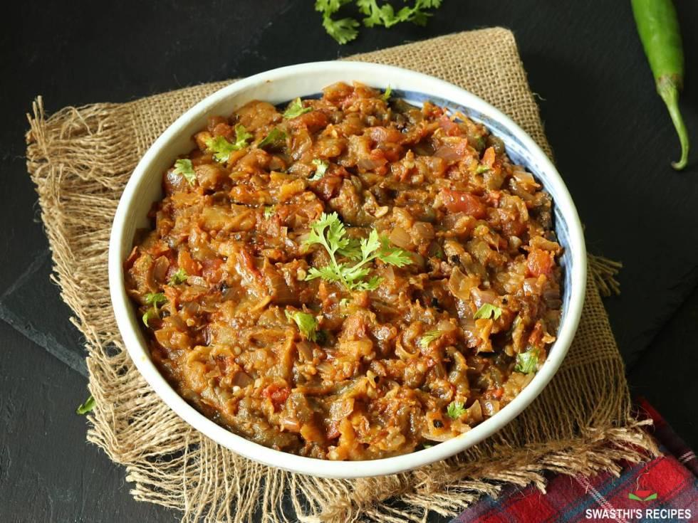baingan bharta ready to serve in a bowl