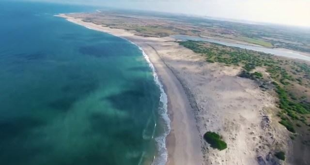 Aerial view of Shivrajpur Beach in Gujarat