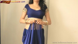 Indian Desi Housewife hot stripping Blue Saree Full Nude Full HD Porn Sexy Navel Gand Choot boobs00009