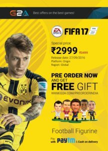 Image of FIFA 17 releasing on G2A.com and Football Figurine