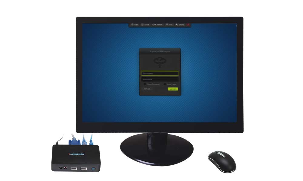 VCloudPoint S100 Terminal Login Screen