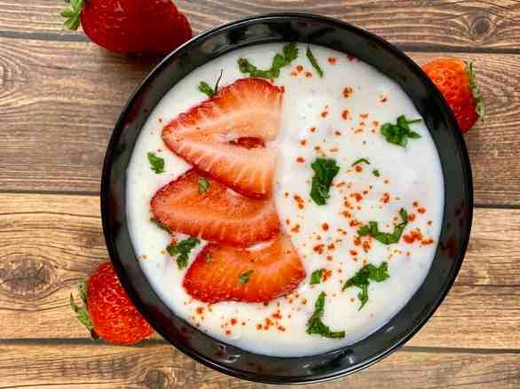 Strawberry Raita - Indian Veggie Delight