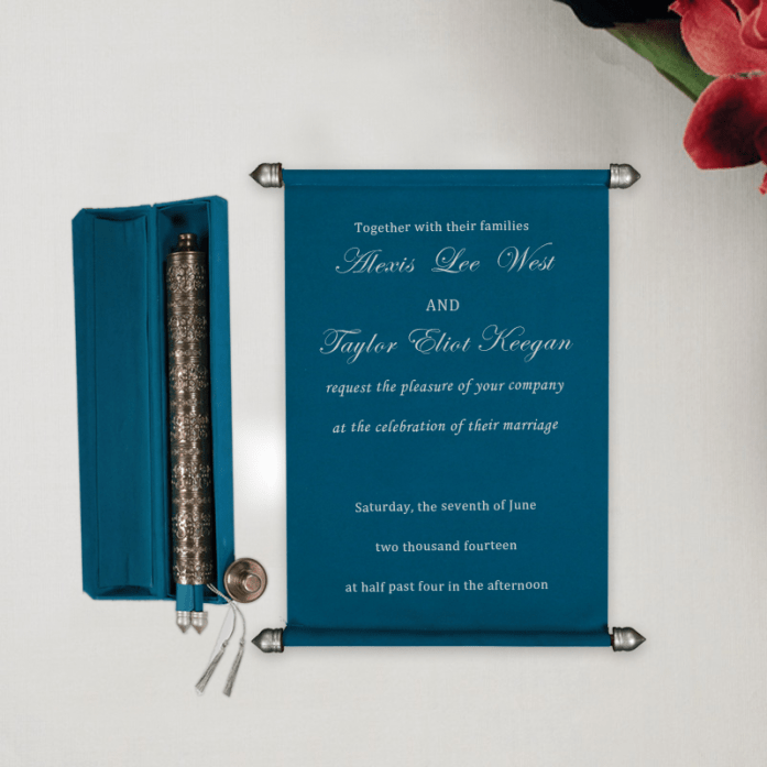 Blue scroll wedding invitations CSC-5006I