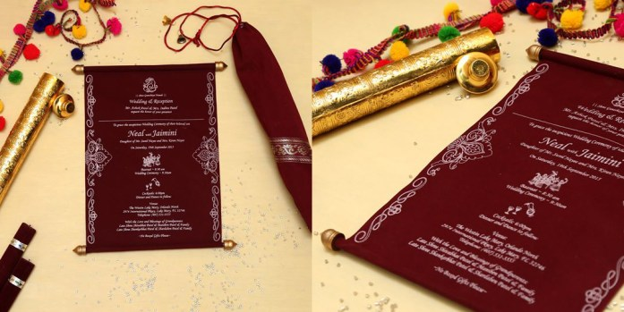 Scroll wedding card