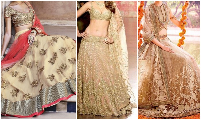 Beige Colored Lehaengas - IndianWeddingCars