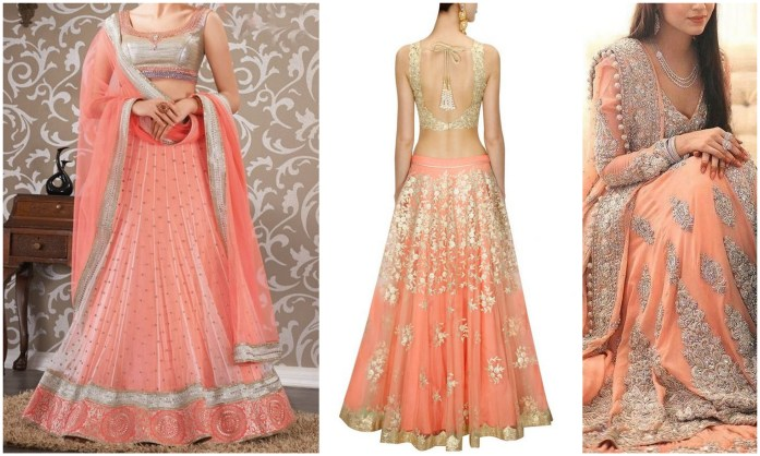 Peach & White Lehengas -IndianWeddingCards