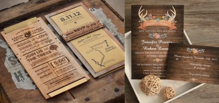 Wooden Style Wedding Invitations - IndianWeddingCards