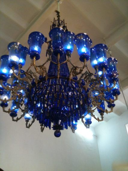 Blue Chandeliers and Lights
