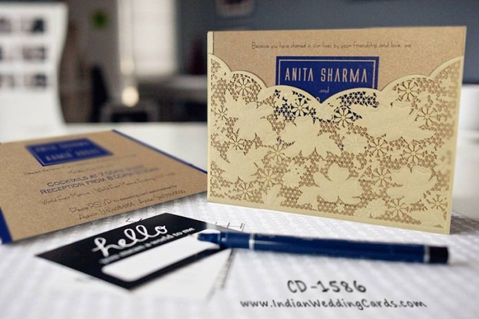 Blue laser cut wedding invitations-IndianWeddingCards
