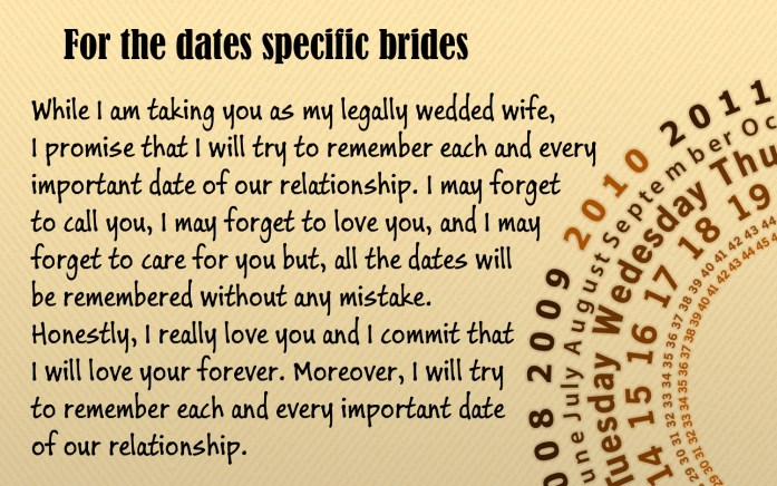 For the dates specific brides