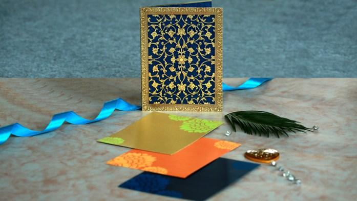 Blue Blush Laser Cut Wedding Invitaions
