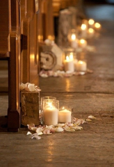 mere rose petals and candles - Aisle Decoration Ideas