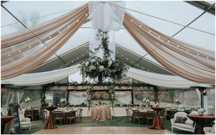 Copper, ivory, midnight blue and sage green wedding venue