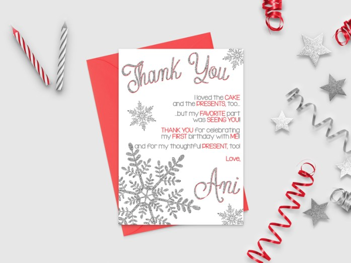 glitter thank-you cards
