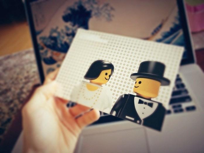 Lego inspired wedding invite