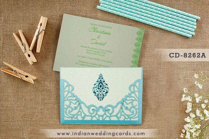 Mint Laser cut Wedding Invitation-IndianWeddingCards