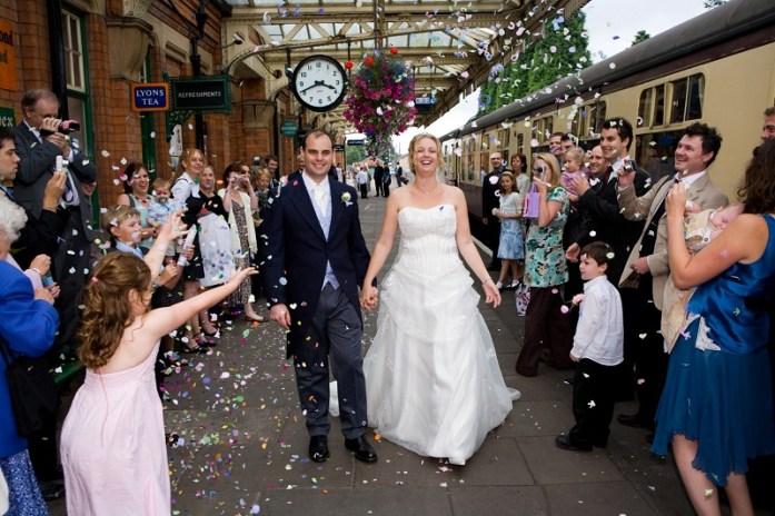 Confetti-and-wedding-on-platform