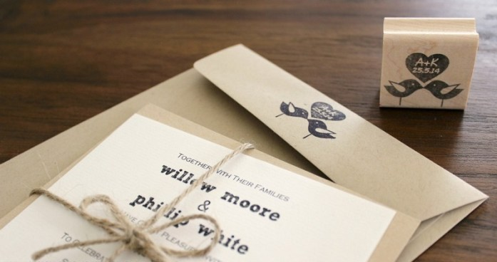 Cute bird sign wedding stamp